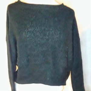 Ambiance Appearal  Black Lace Up Sweater, L